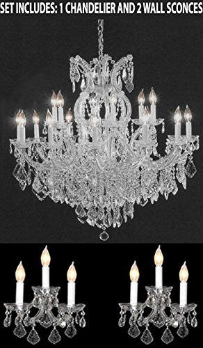 Three Piece Lighting Set - Crystal Chandelier And 2 Wall Sconces - 1Ea Cs/1/21510/15+1 2Ea Cs/3/2813