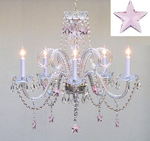 "Swarovski Crystal Trimmed Chandelier! Empress Crystal(Tm) Chandelier Lighting With Pink Crystal Stars H25"" X W24"" - Nursery, Kids, Girls Bedrooms, Kitchen, Etc! - Go-A46-B38/387/5/Pink Sw"