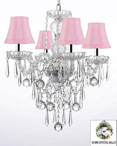 All Crystal Chandelier Lighting Chandeliers W/ 40MM Crystal Balls & Crystal ICICLES and - with Shades W/Chrome Sleeves! - G46-B43/PINKSHADES/B29/3/275/4