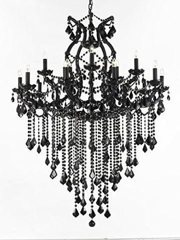Jet Black Chandelier Crystal Lighting Chandeliers 37X50 - A83-B12/Black/21510/15+1