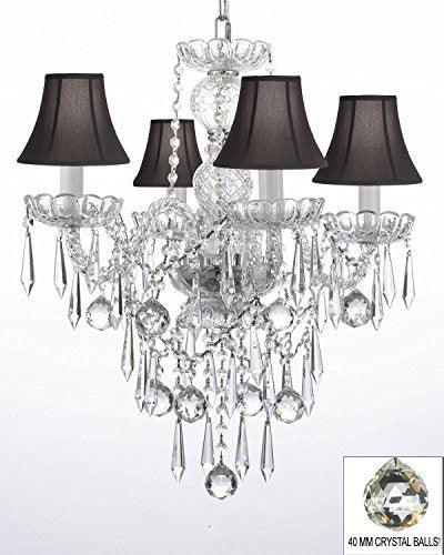 All Crystal Chandelier W/ 40Mm Crystal Balls & Crystal Icicles - G46-Blackshades/B29/3/275/4