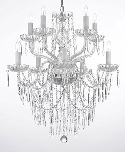 "Empress Crystal (Tm) Icicle Waterfall Chandelier Lighting Dining Room Chandeliers H 30"" W 24"" 10 Lights Swag Plug In-Chandelier W/ 14' Feet Of Hanging Chain And Wire - G46-B15/B27/1122/5+5"