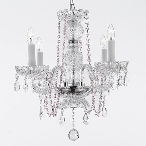 Crystal Chandelier Lighting With Pink Color Crystal - G46-B1/275/4