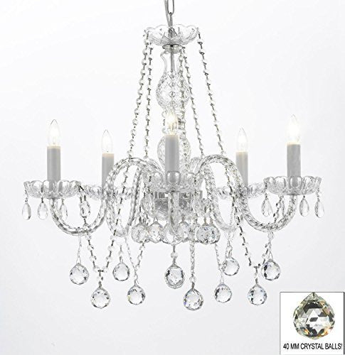 "Authentic All Crystal Chandeliers Lighting Chandeliers With Crystal Balls! H27"" X W24"" - G46-B37/384/5"