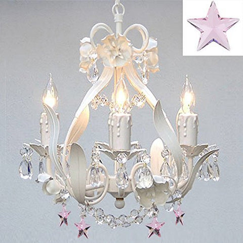 White Iron Empress Crystal(Tm) Flower Chandelier Lighting W/ Pink Crystal Stars! - Nursery, Kids, Girls Bedrooms, Kitchen, Etc! - A7-B38/White/326/4