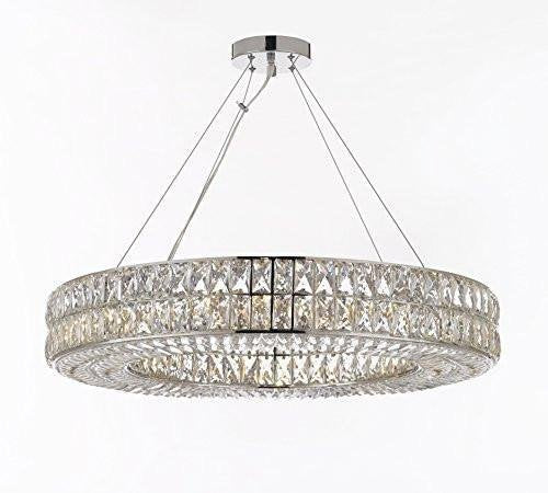 "Crystal Spiridon Ring Chandelier Modern/Contemporary Lighting Pendant 40"" Wide - For Dining Room, Foyer, Entryway, Family Room - GB104-3063/14"