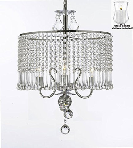 "Contemporary 3-Light Crystal Chandelier Lighting With Votive Candles! W 16"" X H 21"" - For Indoor / Outdoor Use! Great For Outdoor Events, Hang From Trees/Gazebo/Pergola/Porch/Patio/Tent! - G7-B31/1000/3"