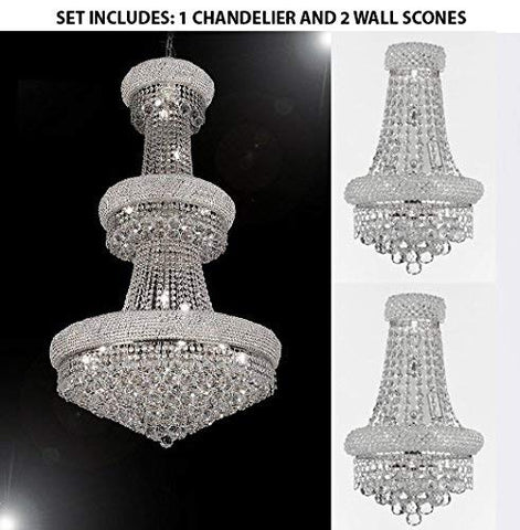 "Set of 3-1 French Empire Crystal Chandelier Chandeliers H50"" X W30"" and 2 Empire Empress Crystal(tm) Wall Sconce Lighting W 12"" H 17"" - 1EA-CS/541/24+2EA-CS/2182/12S/WALLSCONCE"