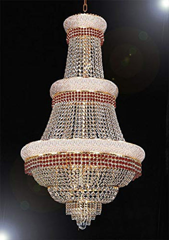 "French Empire Crystal Chandelier Chandeliers Moroccan Style Lighting Trimmed with Ruby Red Crystal! Good for Dining Room, Foyer, Entryway, Family Room and More! H50"" X W30"" - G93-B74/CG/448/21"