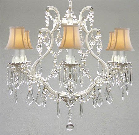 "Wrought Iron Crystal Chandelier Lighting H 19"" W 20"" - With White Shades - A83-Whiteshades/White/3530/6"