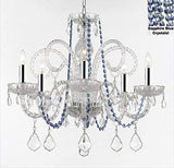 "AUTHENTIC ALL CRYSTAL CHANDELIER CHANDELIERS LIGHTING WITH SAPPHIRE BLUE CRYSTALS! PERFECT FOR LIVING ROOM, DINING ROOM, KITCHEN, KID'S BEDROOM W/CHROME SLEEVES! H25"" W24"" - A46-B43/B82/385/5"