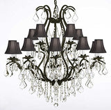"Swarovski Crystal Trimmed Chandelier Wrought Iron Chandelier Crystal Chandeliers Lighting H36"" X W36"" With Shades - A83-Blackshades/3034/10+5 Sw"