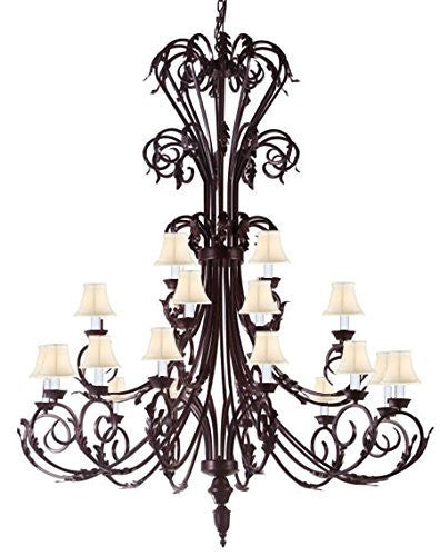 "Large Foyer / Entryway Wrought Iron Chandelier 50"" Inches Tall With White Shades H50"" X W30"" - A83-Whiteshades/724/24"