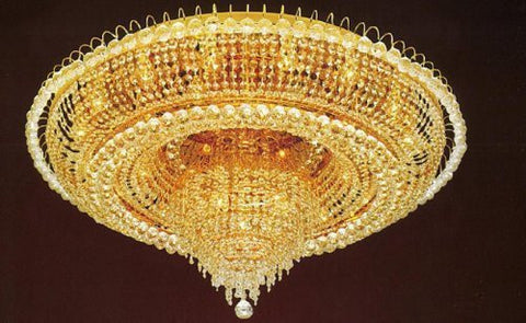 "Swarovski Crystal Trimmed Chandelier French Empire Crystal Flush Chandelier Lighting H 19"" W 39"" - H905-Lys-6649 Sw"