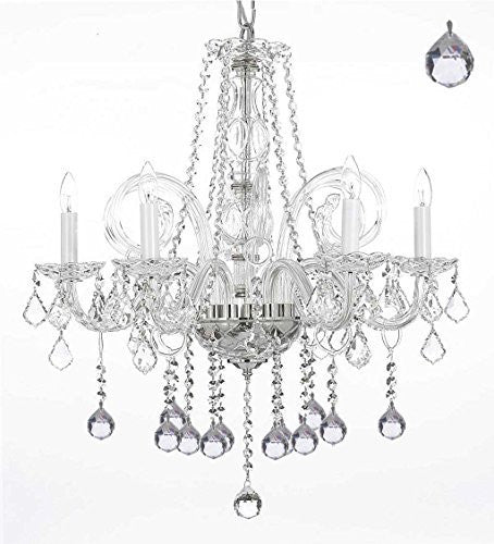 "Crystal Chandelier Lighting With Crystal Balls H25"" X W24"" - G46-B6/385/5"