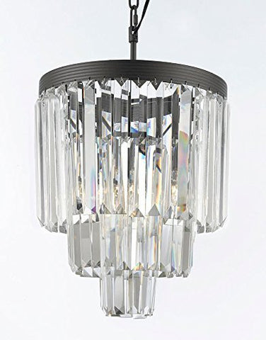 "Palladium Empress Crystal (Tm) Glass Fringe 3-Tier Chandelier Lighting Mini Pendant H 15"" W 12"" - G7-1100/3"