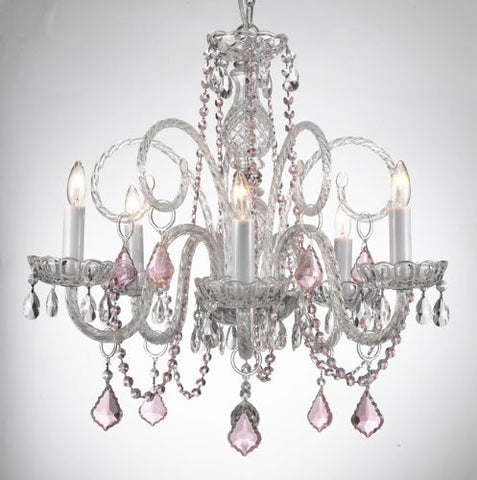 Crystal Chandelier Lighting With Pink Color Crystal! - A46-Pinkb2/385/5