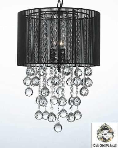 "Crystal Chandelier W/ Large Black Shade & Crystal Balls H24"" W15"" - G7-B6//Black/3/604/3"