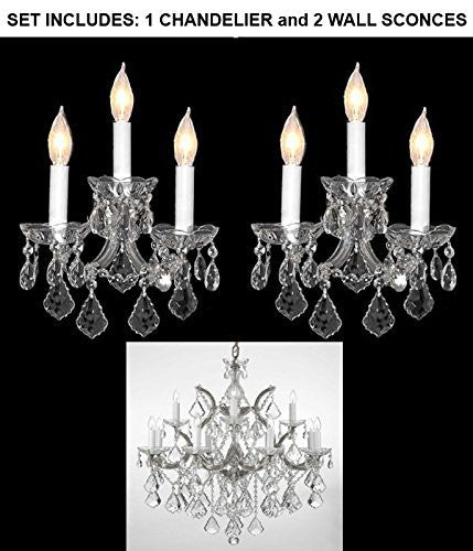 "Set Of 3 - 1 Chandelier Crystal Lighting Chandeliers H 30"" W 22"" And 2 Maria Theresa Wall Sconce Crystal Lighting H14"" x W11.5"" - 1Ea-Cs/B7/21532/12+1 + 2Ea-Cs/3/2813"