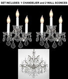 "Set Of 3 - 1 Crystal Chandelier Lighting H 30"" W 22"" And 2 Maria Theresa Wall Sconce Crystal Lighting H11.5"" X W14""! Trimmed With Spectra (Tm) Crystal - Reliable Crystal Quality By Swarovski - 1Ea-Cs/B7/21532/12+1 + 2Ea-Cs/3/2813-Sw"