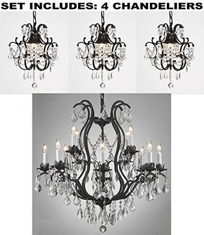 "Set Of 4 - Wrought Iron Chandelier Lighting H30"" X W28"" And Wrought Iron Crystal Chandeliers H14"" W11"" - 1Ea-3034/8+4 + 3Ea-26030/1"