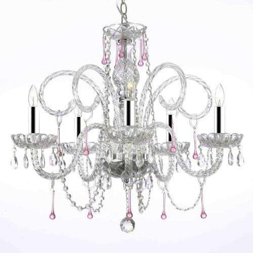 "Pink Crystal Chandelier Chandeliers Lighting w/Chrome Sleeves! H25"" X W24"" - A46-B43/387/5PINK"