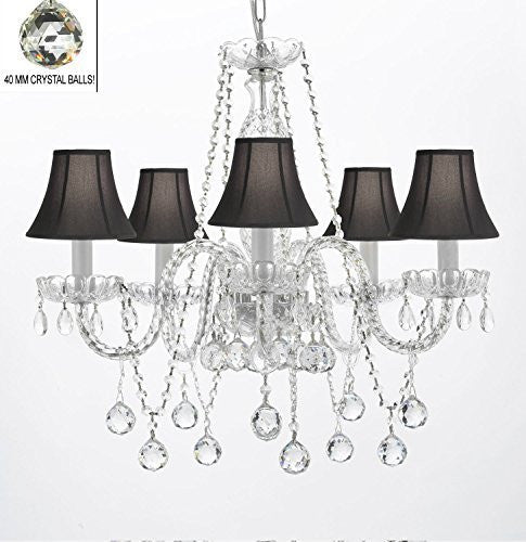 "Authentic All Crystal Chandeliers Lighting Empress Crystal (Tm) Chandeliers With Crystal Balls And Black Shades H27"" X W24"" - G46-Blackshades/B37/384/5"