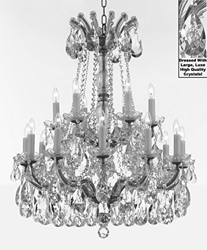 "Maria Theresa Chandelier Crystal Lighting Fixture Pendant Ceiling Lamp With Large Luxe Diamond Cut Crystals H30"" X W28"" -Good For Dining Room Foyer Entryway Family Living Room - J10-Cs/B90/26078/18Dc"