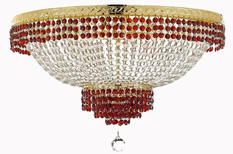 "Flush French Empire Crystal Chandelier Lighting Trimmed With Ruby Red Crystal Good For Dining Room Foyer Entryway Family Room And More H18"" X W24"" - F93-B74/Cg/Flush/870/9"