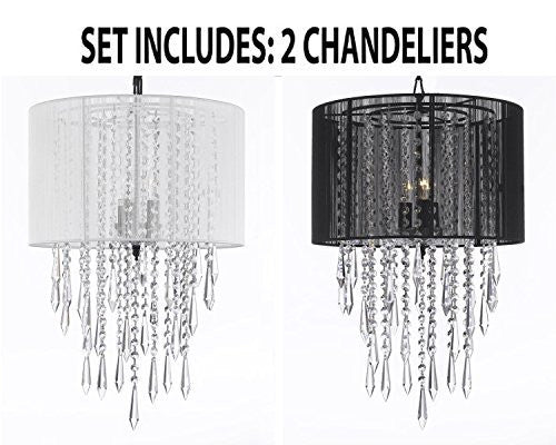 "Set Of 2 - 1 White And 1 Black Crystal Chandelier Empress Crytal (Tm) Chandeliers With Large White Shades H24"" X W15"" - 1Eab27/White/3/604/3+1Eab27/Black/3/604/"