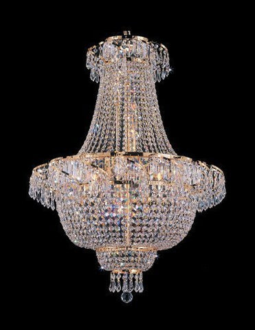 "Swarovski Crystal Trimmed Chandelier French Empire Crystal Chandelier Lighting H 30"" W24"" - A93-928/9 Sw"