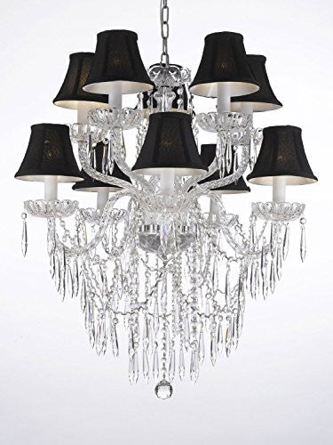 "Empress Crystal (Tm) Icicle Waterfall Chandelier Lighting Dining Room Chandeliers H 30"" W 24"" With Black Shades Swag Plug In-Chandelier W/ 14' Feet Of Hanging Chain And Wire - G46-B15/Blackshades/B27/1122/5+5"