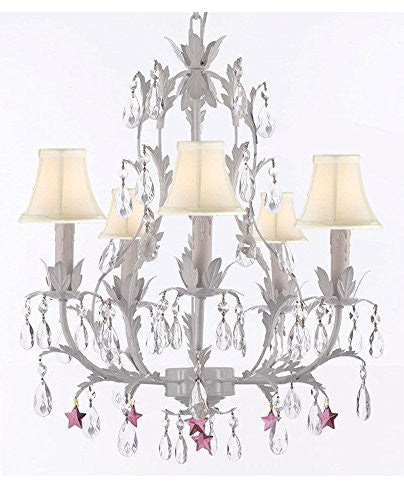 White Wrought Iron Floral Chandelier Lighting W/ Purple Stars And Shades - J10-Sc/Whiteshade/B51/White/26016/5