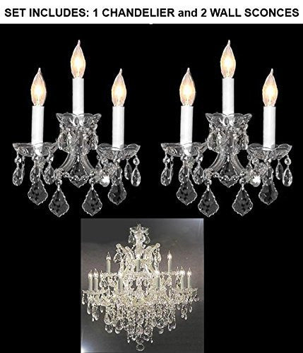 "Set Of 3 - 1 Chandelier Crystal Lighting Chandeliers H 30"" W 28"" And 2 Maria Theresa Wall Sconce Crystal Lighting H14"" x W11.5"" - 1Ea-Cs/21532/12+1 + 2Ea-Cs/3/2813"
