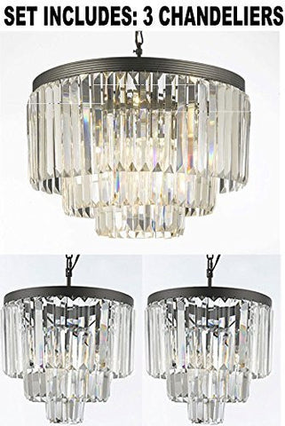 One Of Odeon Crystal Glass Fringe 3-Tier Chandeliers Lighting And 2 Of Odeon Empress Crystal (Tm) Glass Fringe 3-Tier Chandeliers Lighting Mini Pendant - 1Ea-G7-1100+2Ea-G7-1100/3