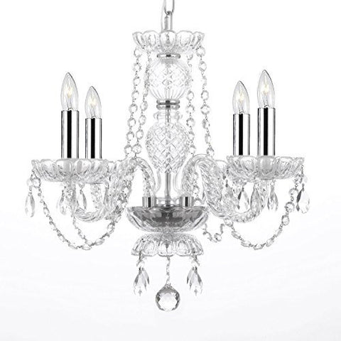 "Empress Crystal (Tm) Chandelier Lighting With Chrome Sleeves H17"" W17"" - G46-B43/275/4"