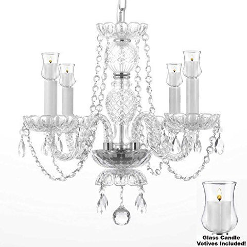 "Crystal Chandelier W/ Candle Votives H 17"" X W 17""- For Indoor / Outdoor Use! Great For Outdoor Events, Hang From Trees / Gazebo / Pergola / Porch / Patio / Tent ! - G46-B31/275/4"
