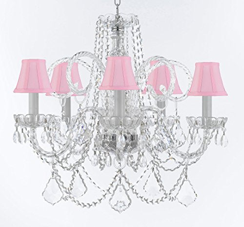 "Murano Venetian Style Chandelier Crystal Lights Fixture Pendant Ceiling Lamp for Dining Room, Bedroom, Entryway , Living Room with Large, Luxe, Diamond Cut Crystals! H25"" X W24"" w/ Pink Shades - A46-CS/PINKSHADES/B94/B89/385/5DC"