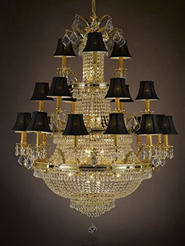 "French Empire Crystal Chandelier Lighting Empress Crystal (Tm) Gold H50"" X W40"" - Perfect For An Entryway Or Foyer With Black Shades - A81-Blackshades/1287/12+6+3"