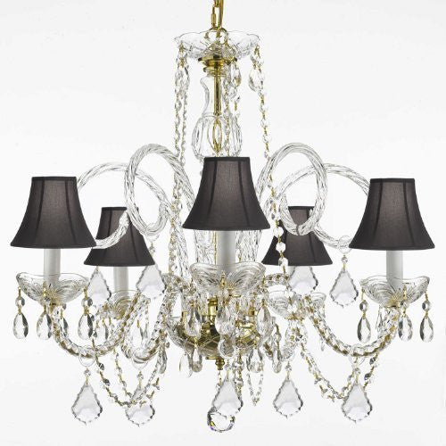 "Crystal Chandelier Lighting With Black Shades H 25"" W 24"" - Cjd-G46-Gold/Blackhades/385/5"