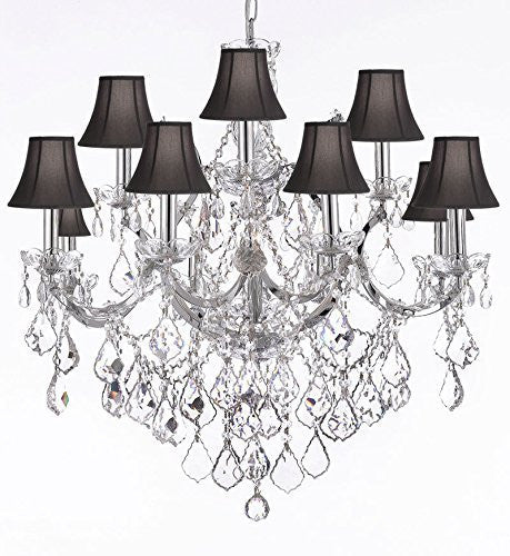 "Maria Theresa Chandelier Lighting Crystal Chandeliers H30 ""X W28"" Chrome Finish With Shades - F83-Sc/Blackshades/B7/Chrome/2527/12+1"