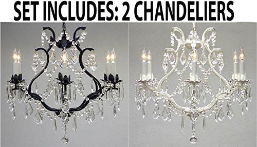 "Set Of 2 - 1 White And 1 Black Wrought Iron Empress Crystal (Tm) Chandelier Lighting H 19"" W 20"" - 1Ea 3530/6 + 1Ea White/3530/6"