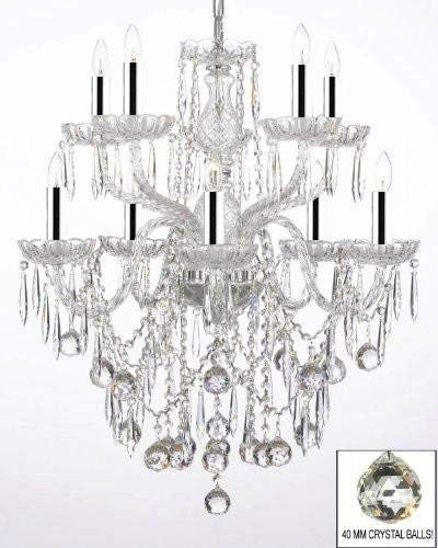 All Crystal Chandelier Lighting Chandeliers with 40MM Crystal Balls and Crystal ICICLES W/Chrome Sleeves! - G46-B43/B29/B13/1122/5+5