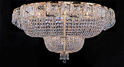 "Flush French Empire Crystal Chandelier Lighting H 27"" X W 36"" - J10-Flush/Cg/26083/32"