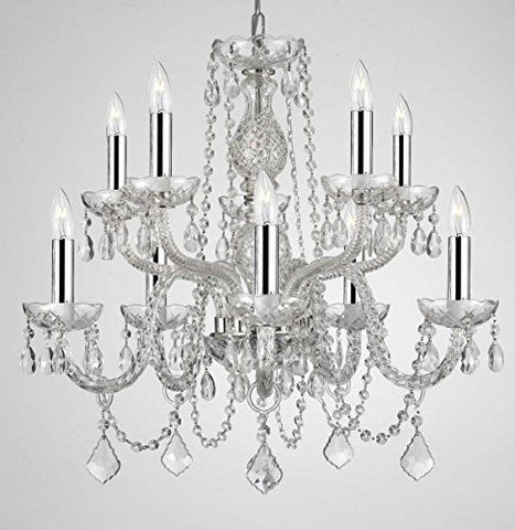 "Empress Crystal (Tm) Chandelier Lighting Crystal Chandeliers With Chrome Sleeves H25"" X W24"" 10 Lights - G46-B43/Cs/1122/5+5"