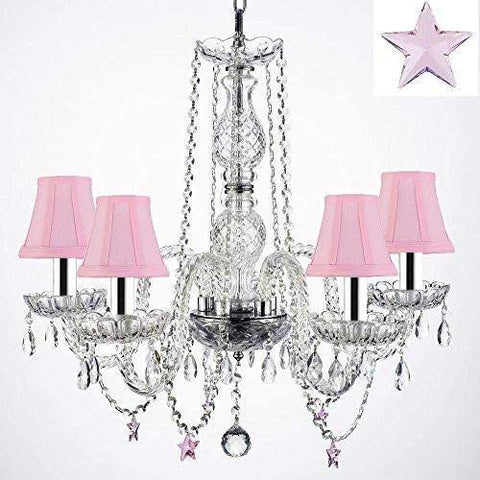 "Authentic Empress Crystal(TM) Chandelier Lighting Chandeliers with Crystal Stars! H25"" X W24"" - Nursery, Kids, Girls Bedrooms, Kitchen, Etc with Pink Shades w/Chrome Sleeves! - G46-B43/PINKSHADES/B38/384/5"