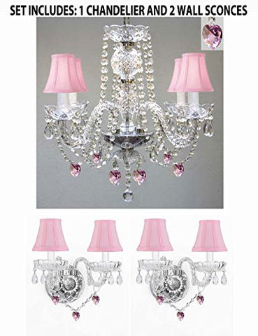 Three Piece Lighting Set - Crystal Chandelier And 2 Wall Sconces W/ Pink Crystal Hearts And Pink Shades! - 1Ea Pnkshd/Heart2754+2Ea Pnkshdheart2386