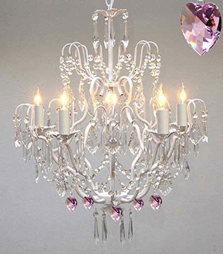 Wrought Iron & Crystal Chandelier Authentic Empress Crystal(Tm) Chandelier With Pink Hearts Nursery Kids Girls Bedrooms Kitchen Etc. - J10-White/B21/C/26025/5