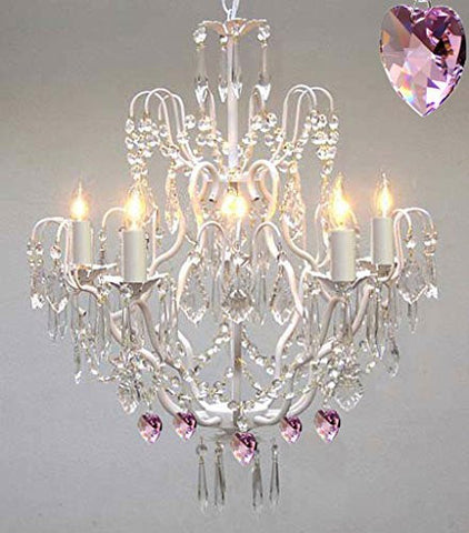 Wrought Iron & Crystal Chandelier Authentic Empress Crystal(Tm) Chandelier With Pink Hearts! Nursery, Kids, Girls Bedrooms, Kitchen, Etc. - P7-White/B21/C/3033/5