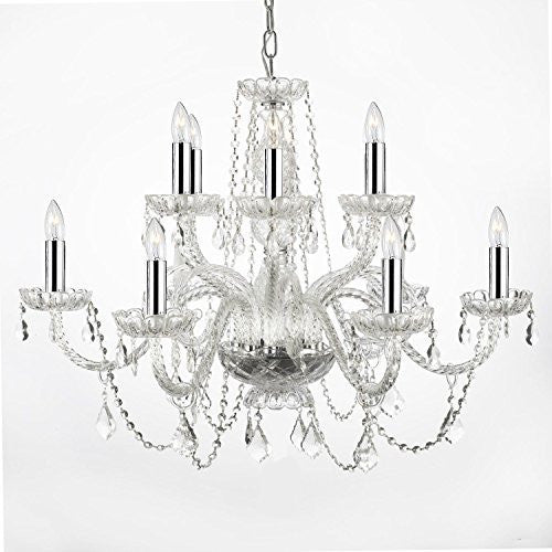 "Empress Crystal (Tm) Chandelier Lighting With Chrome Sleeves H27"" W32"" - F46-B43/385/6+6"